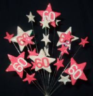 Star age 60th birthday cake topper decoration in bright pink and white - free postage